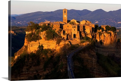 Italy, Civita di Bagnoregio, View of the village at sunset