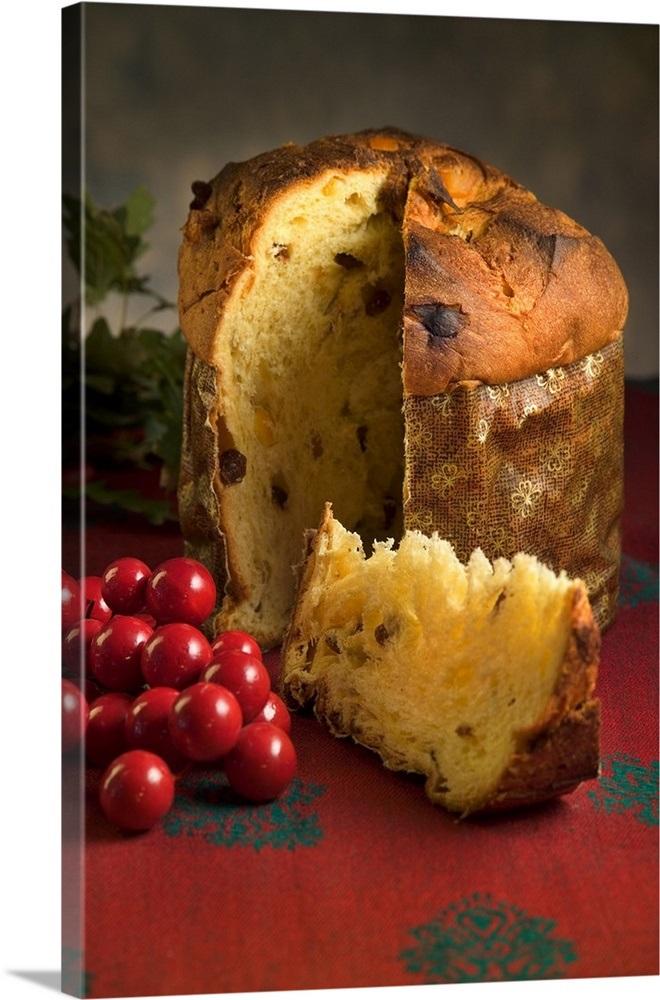 Italian Christmas Cake.Italy Food Panettone Panettone Typical Italian Christmas Cake