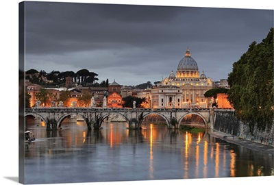 Italy, Latium, Tiber, Tevere, Rome, Saint Peter's Basilica
