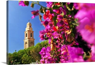 Italy, Liguria, San Lorenzo al Mare, The bell tower of Santa Maria Maddalena church