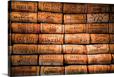 Italy, Lombardy, Milan, French wines corks