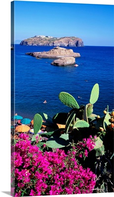 Italy, Pontine Islands, Santo Stefano Island in front of Cala Nave beach