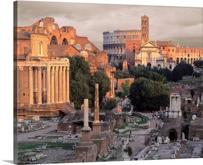 Italy, Rome, Roman Forum and Coliseum
