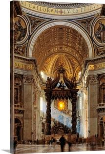 Italy, Rome, Saint Peter's Cathedral, Bernini's Baldacchino