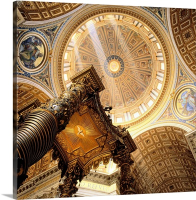 Italy, Rome, Saint Peter's Cathedral, cupola and baldachin