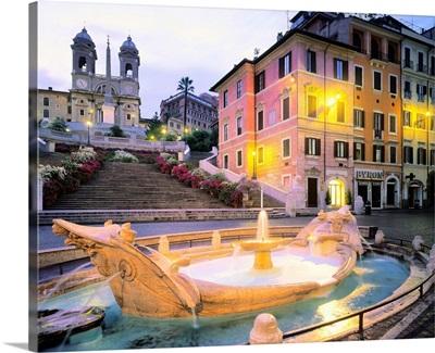 Italy, Rome, Spanish Steps, Fontana della Barcaccia, Trinita dei Monti