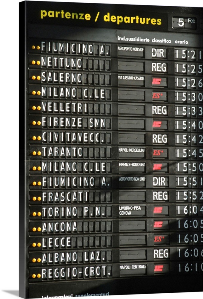 Italy Rome Termini Station Arrival Departure Board Wall