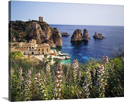 Italy, Scopello, Tonnara and Faraglioni (stack rocks)