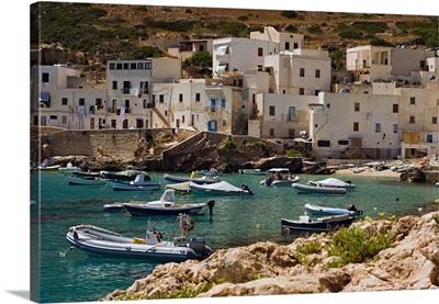 Italy, Sicily, Egadi Islands, Levanzo, Harbor