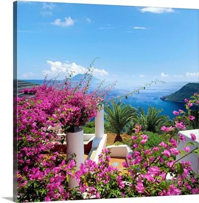 Italy, Sicily, Filicudi island, view to Salina island
