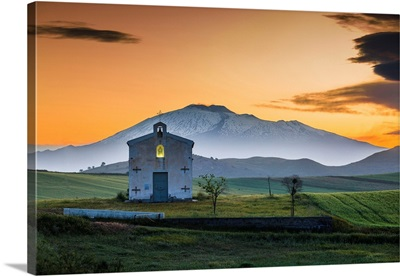 Italy, Sicily, Little Church In Borgo Franchetto, Mount Etna In The Background