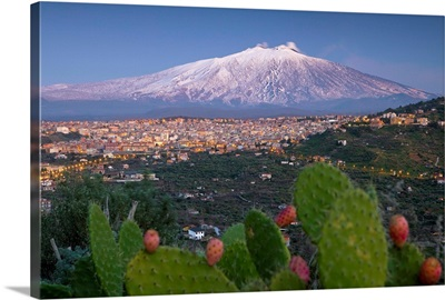 Italy, Sicily, Mediterranean area, Catania district, Bronte, View towards Mount Etna