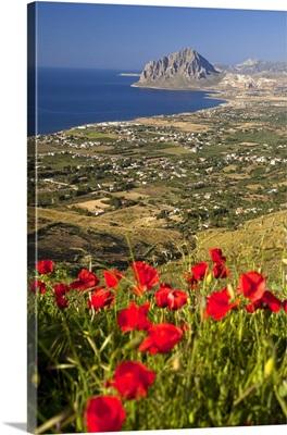 Italy, Sicily, Mediterranean sea, Trapani district, Erice, View towards Monte Cofano