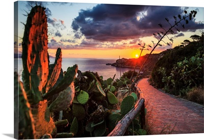 Italy, Sicily, Messina District, Mediterranean Sea, Milazzo, Milazzo Cape At Sunset