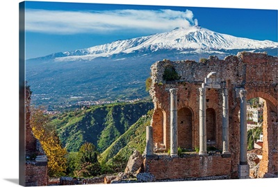 Italy, Sicily, Messina district, Taormina, Greek Theatre and Mount Etna in background