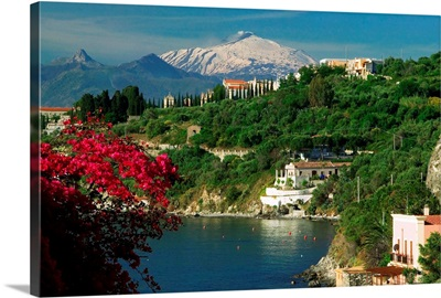 Italy, Sicily, Milazzo, seafront and Mount Etna in background