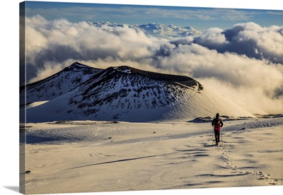 Italy, Sicily, Mount Etna, Hiker walking towards Escriva and La Montagnola craters