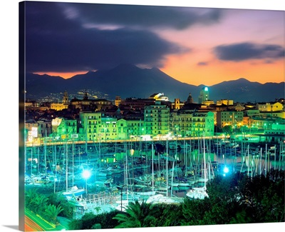 Italy, Sicily, Palermo, harbor and old town of Palermo