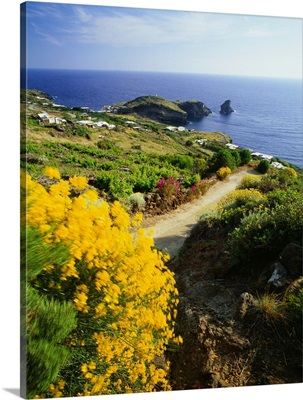 Italy, Sicily, Pantelleria Island, view towards the inlet and the Faraglione