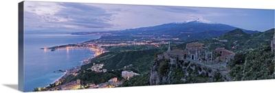 Italy, Sicily, Taormina, View of the Ionic Coast from Taormina to Catania
