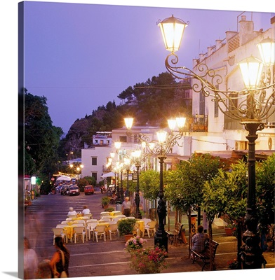 Italy, Sicily, Ustica, Little square with lamp street