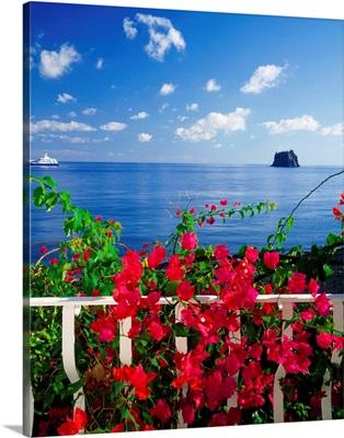 Italy, Sicily, View from Stromboli island towards the Strombolicchio islet