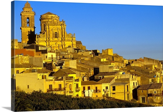 Italy, Sicily, Vizzini, church and old town Wall Art, Canvas Prints ...