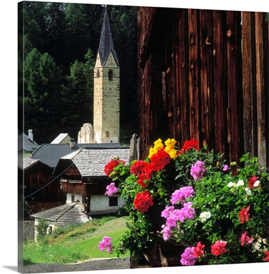 Italy, South Tyrol, Alta Badia, La Valle (Wengen), bell tower