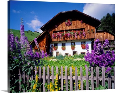 Italy, South Tyrol, typical 'maso' (farm-house) with kitchen garden