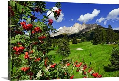 Italy, South Tyrol, Val d'Ega, Dolomites, Golf club and Catinaccio Mountain
