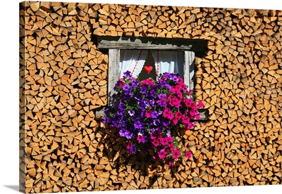 Italy, Trentino-Alto Adige, Val di Fassa, Firewood, flowers and window