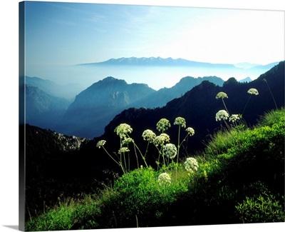 Italy, Trentino, Passo Tremalzo, panorama towards Monte Baldo