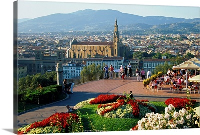 Italy, Tuscany, Florence, Michelangelo square and Santa Croce church