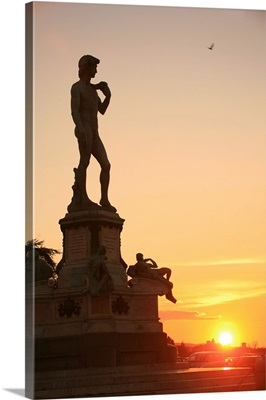 Italy, Tuscany, Florence, Michelangelo square, copy of Michelangelo's David