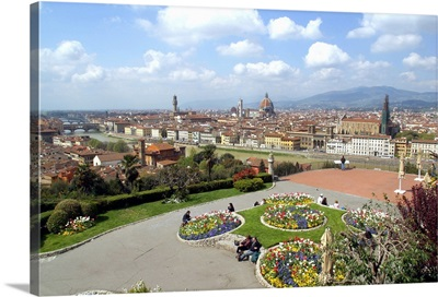Italy, Tuscany, Florence, View of the city from Piazzale Michelangelo