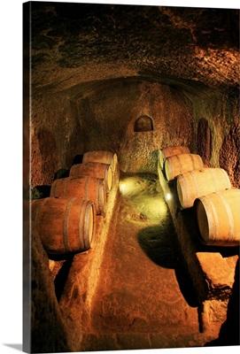 Italy, Tuscany, Maremma, Pitigliano, Grosseto district, Wine cellar dug in the tufo