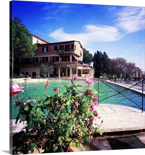 italy tuscany orcia valley bagno vignoni hotel posta marcucci swimming pool