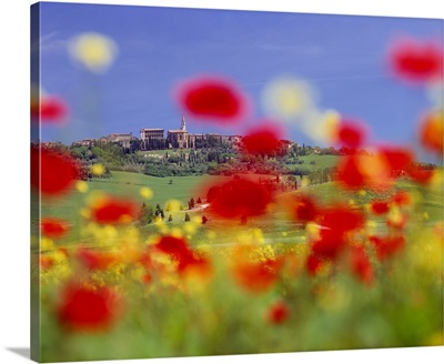 Italy, Tuscany, Pienza, Orcia Valley, View towards the town