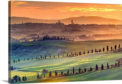 Italy, Tuscany, Siena In The Background With The Sienese Crete In The Foreground, Sunset