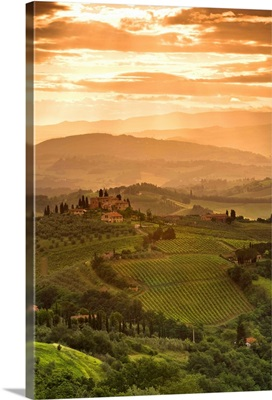 Italy, Tuscany, Val d'Elsa, Sunrise over a typical rural Tuscan landscape