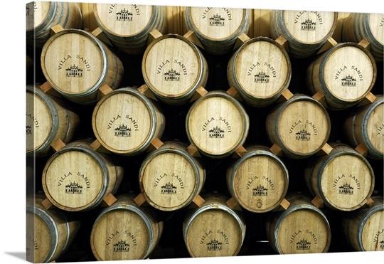 Italy, Veneto, Valdobbiadene, Barrels of wine at the Villa Sandi ...