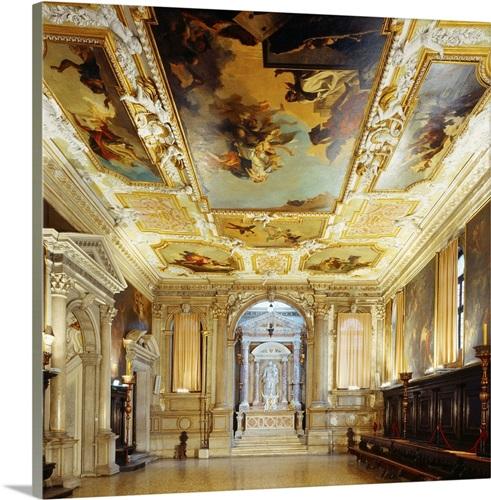 Italy, Veneto, Venice, Scuola Grande dei Carmini, Sala Capitolare ...
