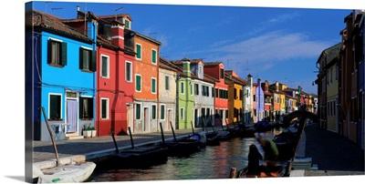 Italy, Venice, Burano, houses along canal