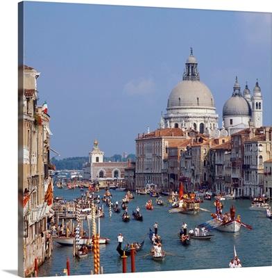 Italy, Venice, Canal Grande and Santa Maria della Salute, Historical Regatta