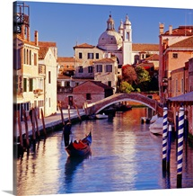 Italy, Venice, Canal, Rio Ognissanti and church of the Gesuiti