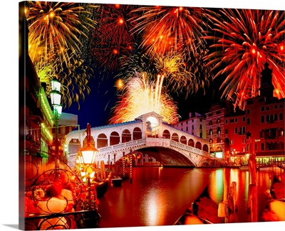Italy, Venice, Rialto Bridge at night with fireworks