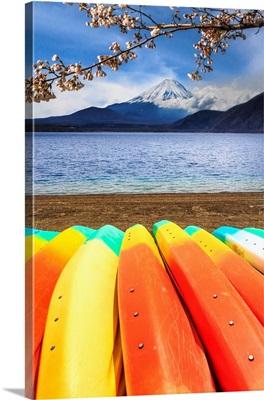 Japan, Chubu, Fuji-Hakone-Izu National Park, Motosu Lake And Mount Fuji