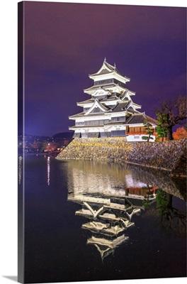 Japan, Chubu, Matsumoto, Matsumoto Castle During The Cherry Blossom, Sakura, By Night
