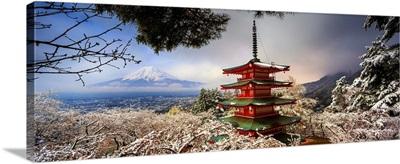 Japan, Chubu, Mount Fuji, Chureito Pagoda, Arakura Sengen Shrine During Cherry Blossom