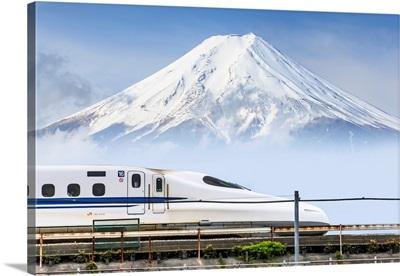 Japan, Chubu, Shinkansen, Bullet Train, And Mount Fuji In The Background